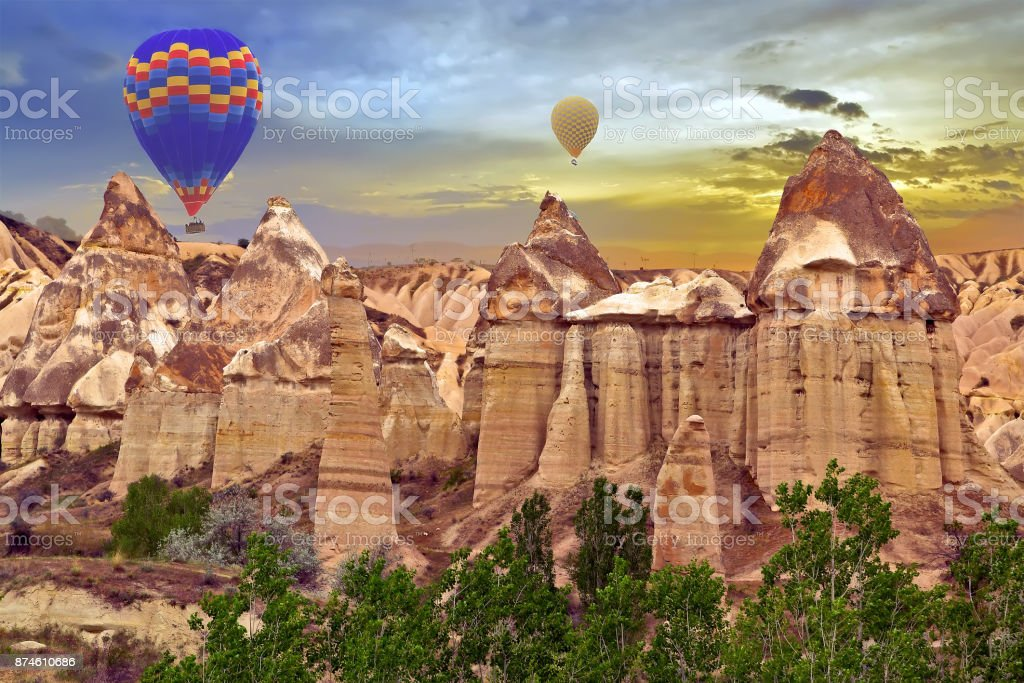 Hot air balloons sunset discovery Love valley in Goreme nationa park,...