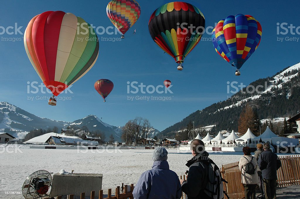 Hot air balloons Swiss alps royalty-free stock photo
