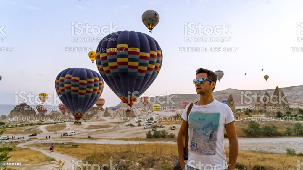 Hot Air Balloons To Fly over Cappadocia stock photo