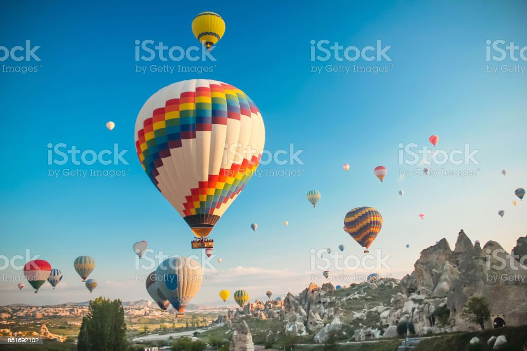 Hot air baloon in Cappadocia stock photo
