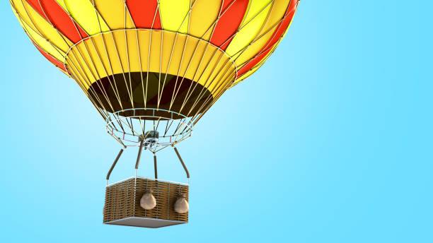 air chaud couleur bulle 3d render sur fond bleu - montgolfière photos et images de collection