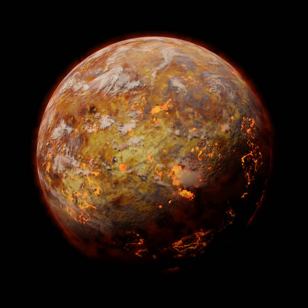 hot alien planet with volcanic activities, isolated on black background stock photo