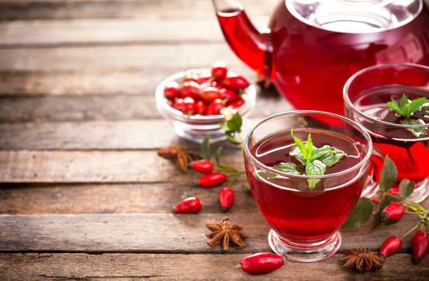 Hot and healthy rose hip tea Hot and healthy rose hip tea dog rose stock pictures, royalty-free photos & images