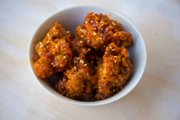 Hot and spicy boneless fried chicken stock photo
