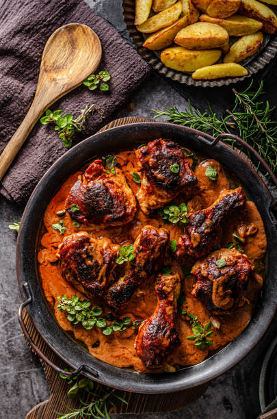 Hot and spicy tikka chicken stock photo