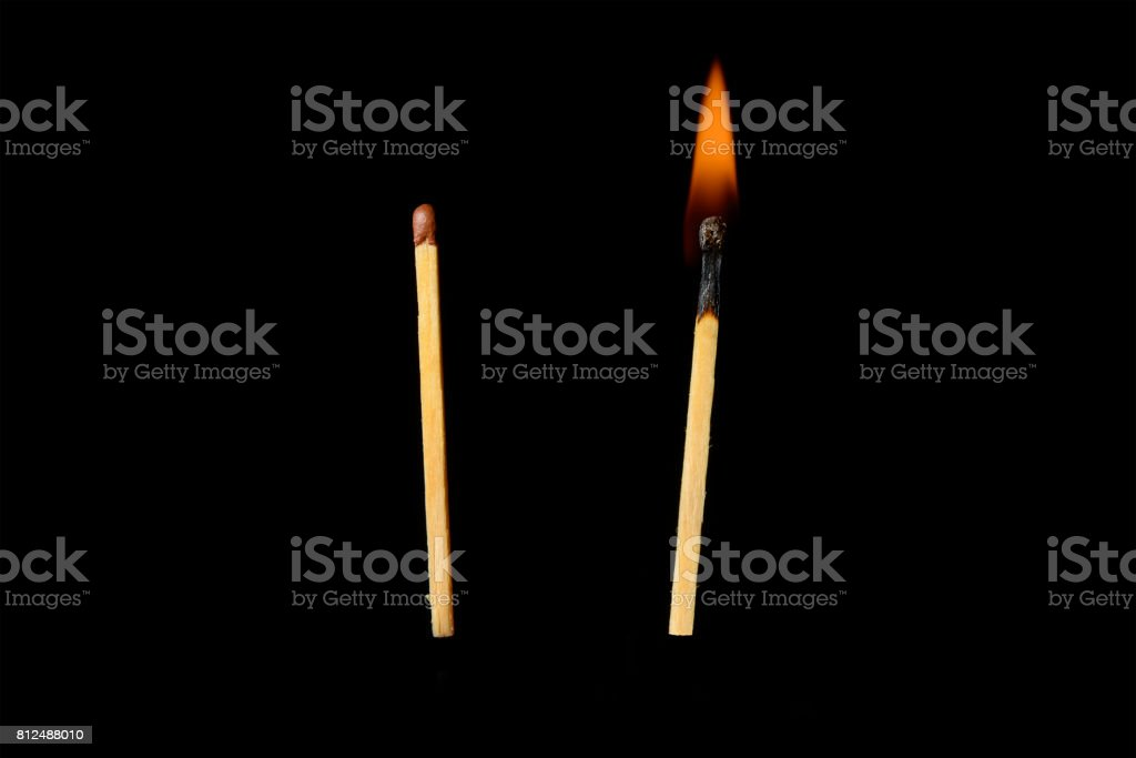 Hot and unresolved matches on a black background stock photo