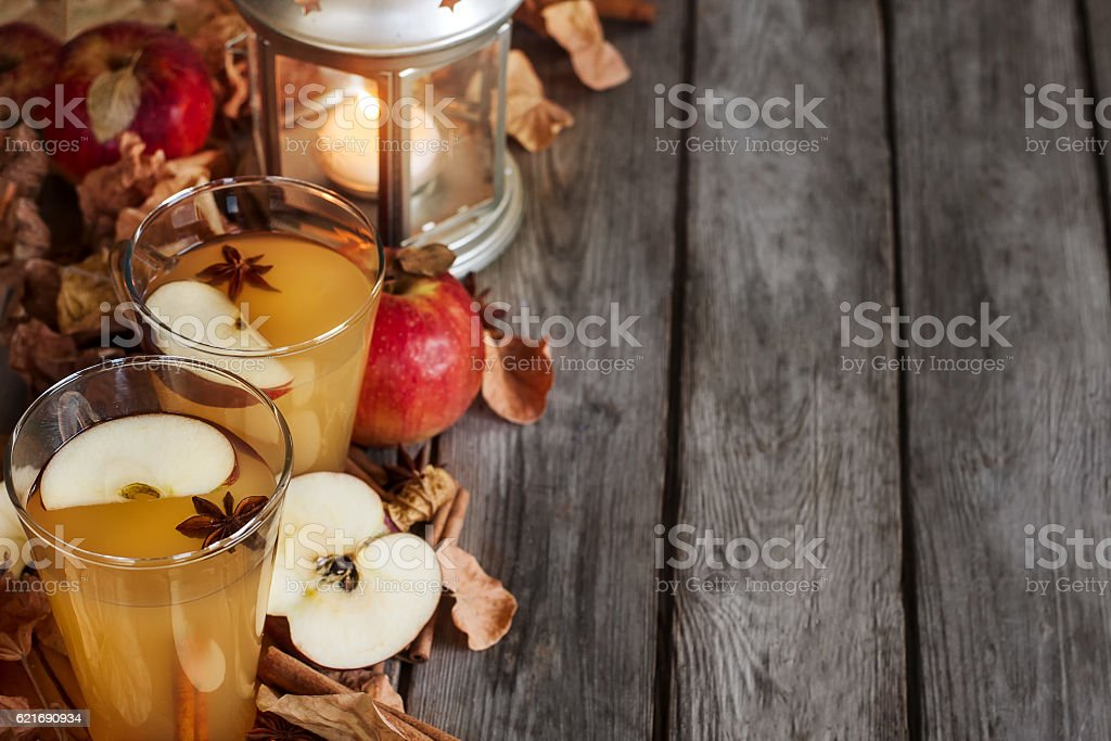 Hot apple cider background stock photo