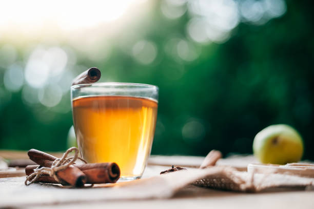 Hot apple cider beverage. Hot drink (apple tea, punch) with cinnamon stick and star anise on tote bag. Seasonal mulled drink. stock photo
