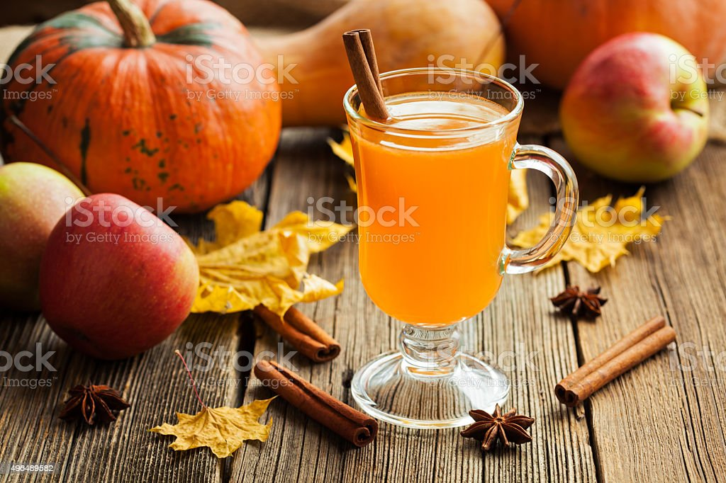 Hot apple cider healthy traditional winter christmas or thanksgiving holiday stock photo