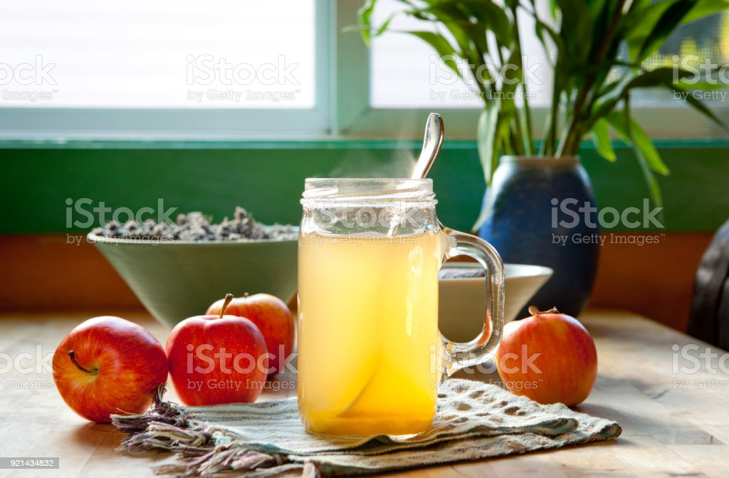Hot apple cider vinegar and honey drink stock photo