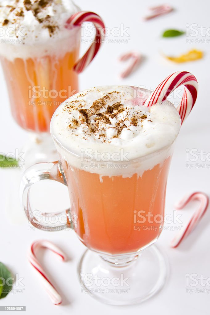 Hot apple cider with whipped cream royalty-free stock photo