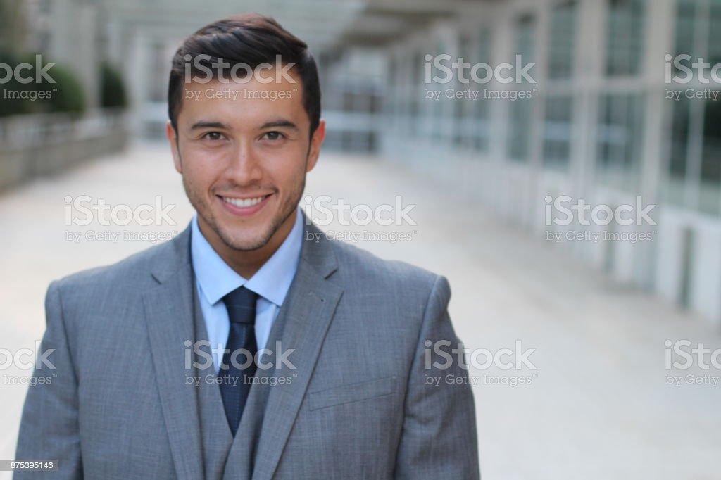 Hot Asian businessman after work stock photo