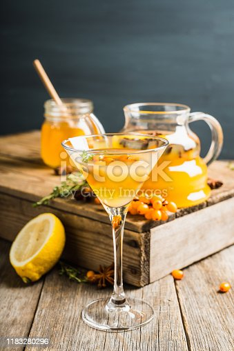 578566044 istock photo Hot autumn cocktail with sea buckthorn and orange juice in martini glass on the rustic background 1183280296