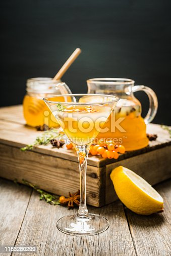 578566044 istock photo Hot autumn cocktail with sea buckthorn and orange juice in martini glass on the rustic background 1183280299
