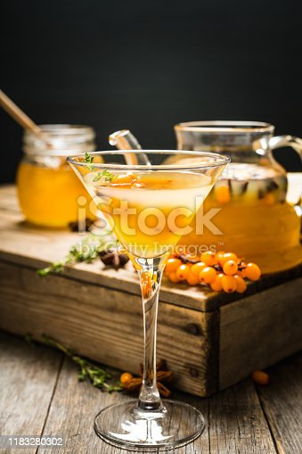 578566044 istock photo Hot autumn cocktail with sea buckthorn and orange juice in martini glass on the rustic background 1183280302