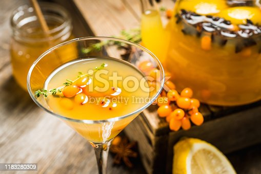 578566044 istock photo Hot autumn cocktail with sea buckthorn and orange juice in martini glass on the rustic background 1183280309