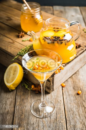 578566044 istock photo Hot autumn cocktail with sea buckthorn and orange juice in martini glass on the rustic background 1183280314