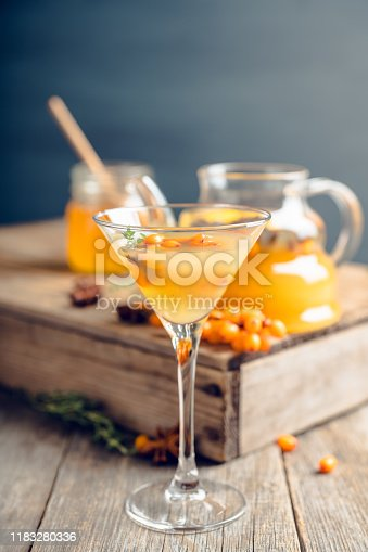 578566044 istock photo Hot autumn cocktail with sea buckthorn and orange juice in martini glass on the rustic background 1183280336
