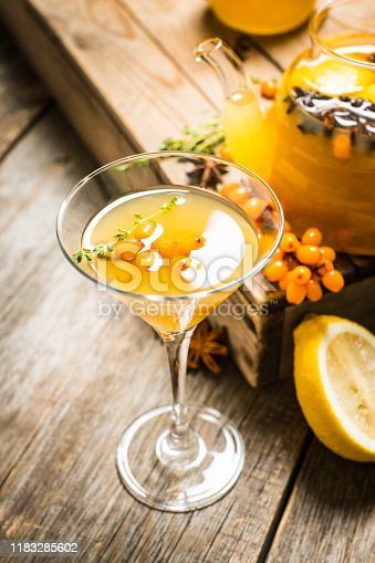 578566044 istock photo Hot autumn cocktail with sea buckthorn and orange juice in martini glass on the rustic background 1183285602