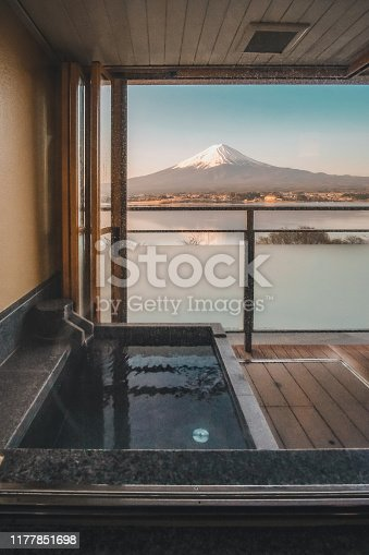 hot bath Japanese onsen in Traditional ryokan resort with beautiful Mt.Fuji view background at Kawaguchiko lake, Yamanashi, Japan