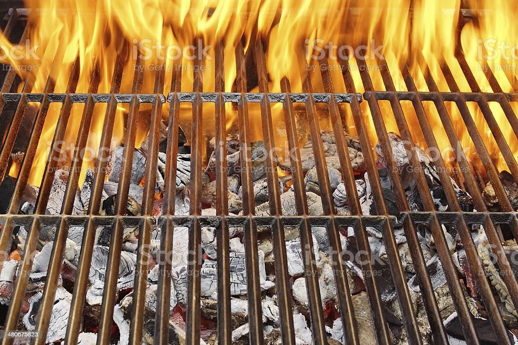 Hot BBQ Grill and Burning Flames, XXXL stock photo
