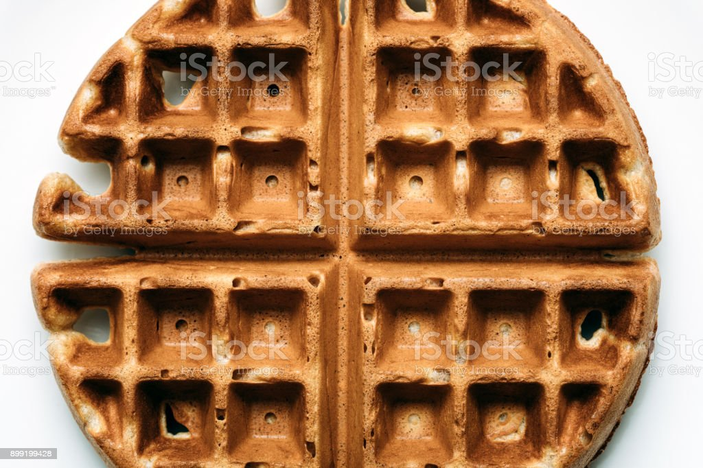 Hot Belgian Waffle Breakfast in Detail stock photo
