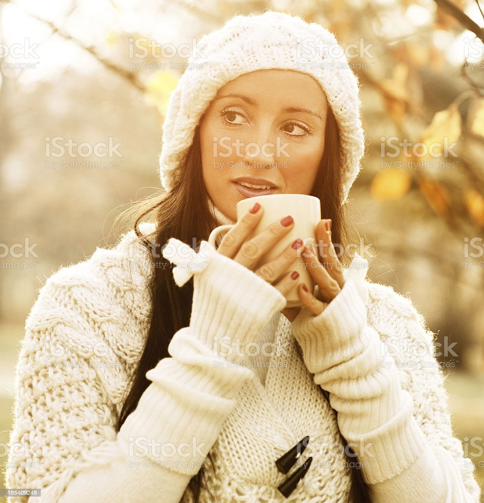 Hot Beverage on Autumn Day royalty-free stock photo