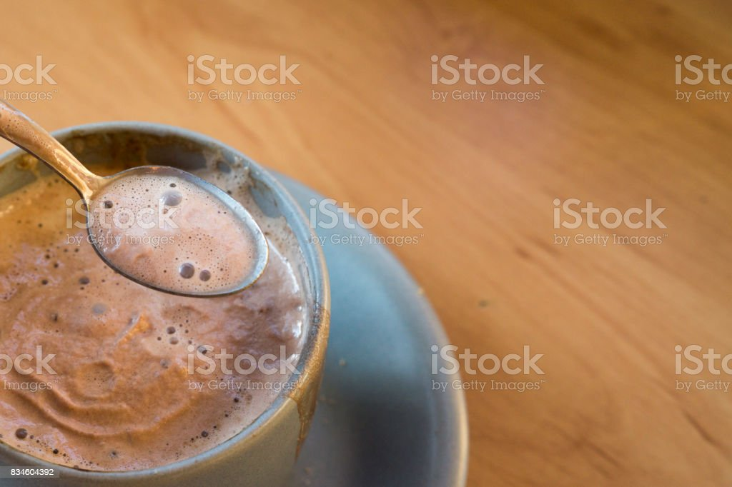 hot beverage on kitchen counter stock photo