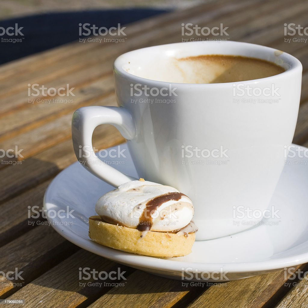 hot black coffee and chocolate cake royalty-free stock photo
