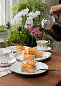 Afternoon tea table, selective focus