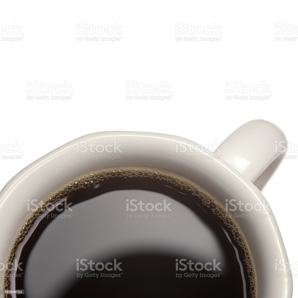 Hot Black Coffee Cup Close-Up on White Background royalty-free stock photo