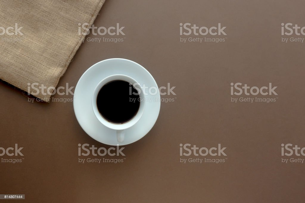 Hot black coffee in a white cup. stock photo