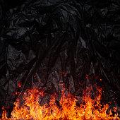 Hot blazing wooden background