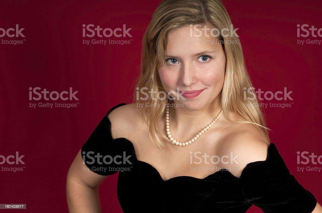 Hot Blond In A Party Dress royalty-free stock photo