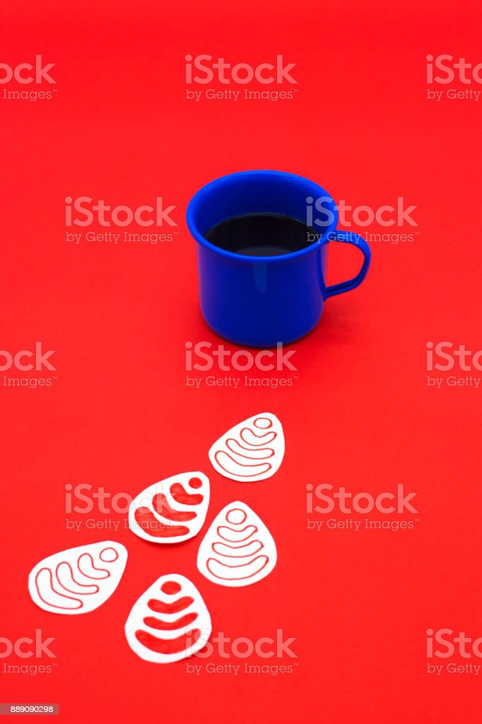 hot blue cup of coffee with wifi sign on red background stock photo