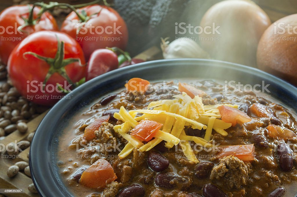 hot bowl of chile stock photo