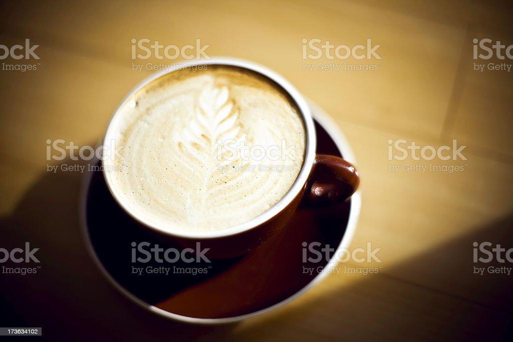 Hot Cappuccino Coffee in Sun Light royalty-free stock photo