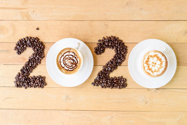Hot cappuccino with coffee bean in 2020 year sign / Happy New year 2020 stock photo
