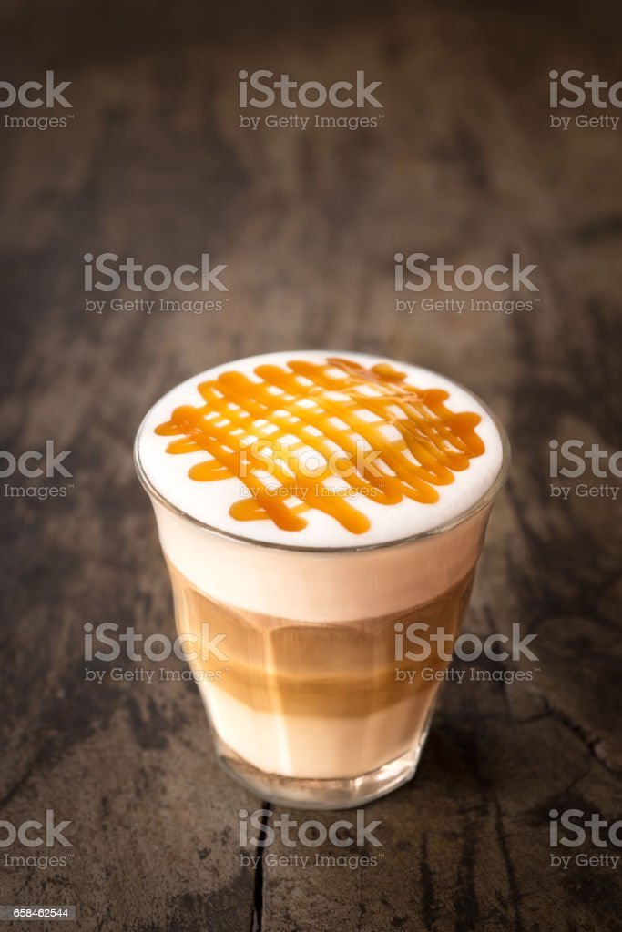 hot caramel macchiato coffee stock photo