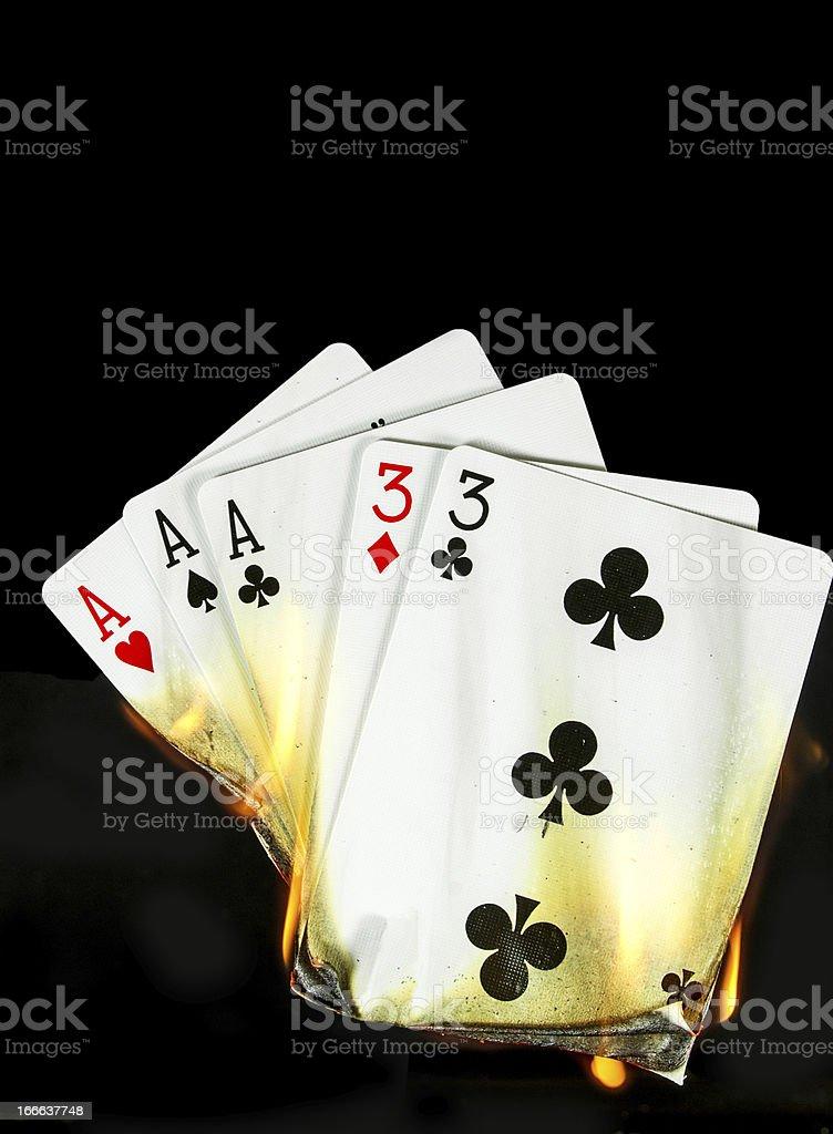 Hot Card Hand... Full House stock photo