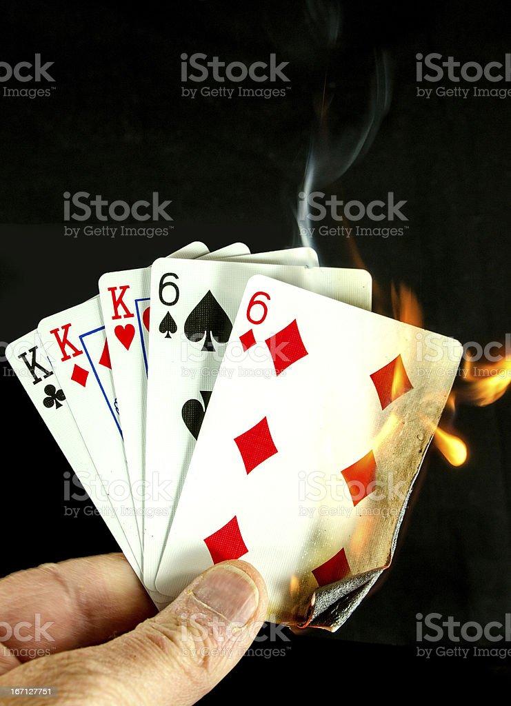 Hot Card Hand... Full House royalty-free stock photo