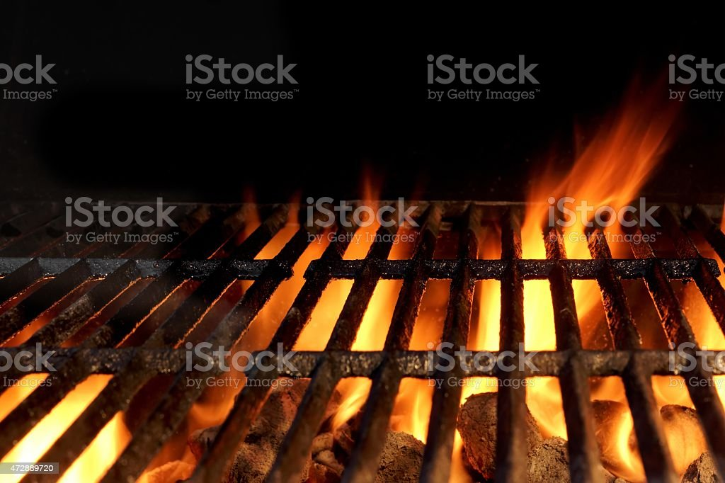 Hot Charcoal Grill With Flames Of Fire stock photo