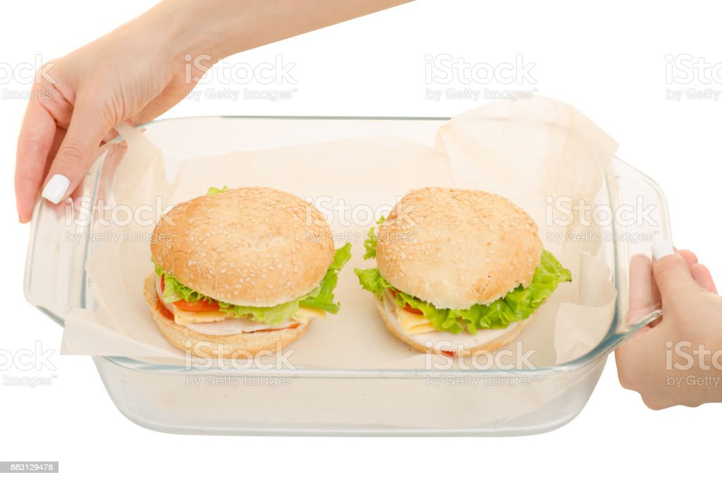 Hot cheeseburgers in a glassware stock photo