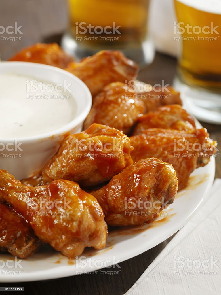 Hot Chicken Wings and Beer royalty-free stock photo