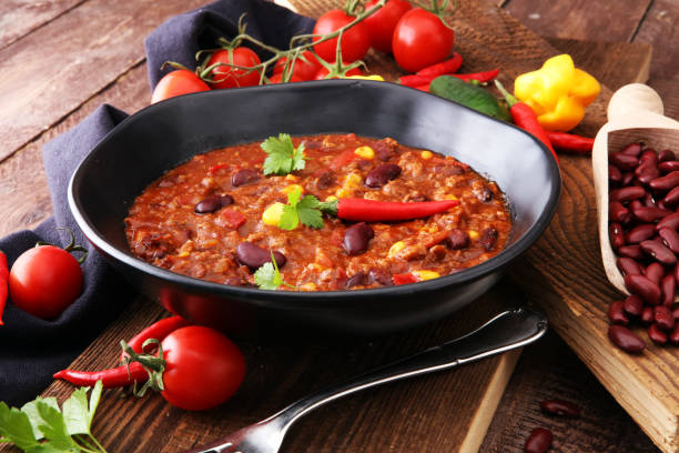 hot chili con carne - mexican food tasty and spicy - chilli stock photos and pictures