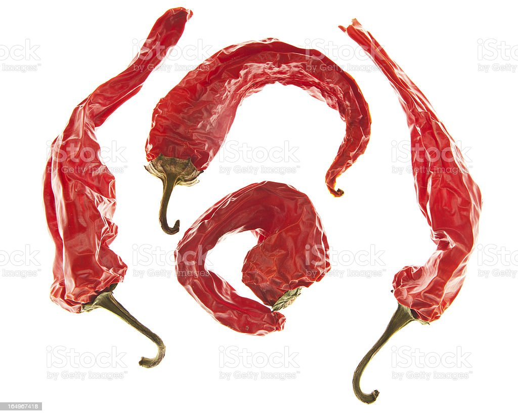 Hot Chili Peppers on White Background royalty-free stock photo