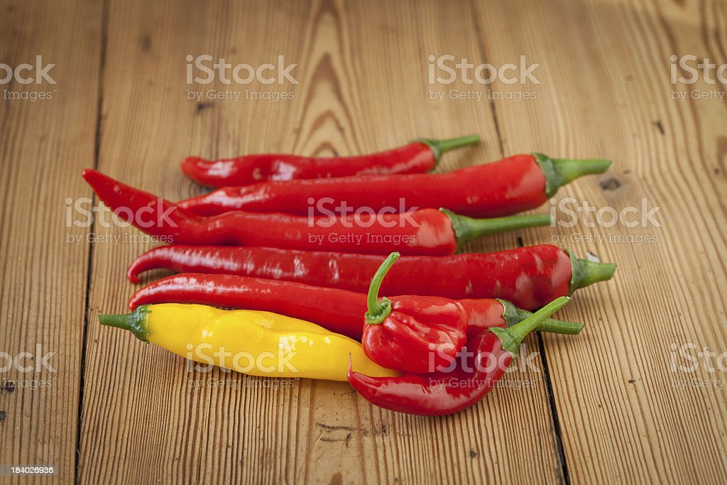 Hot Chilli Peppers on a Chopping Board royalty-free stock photo