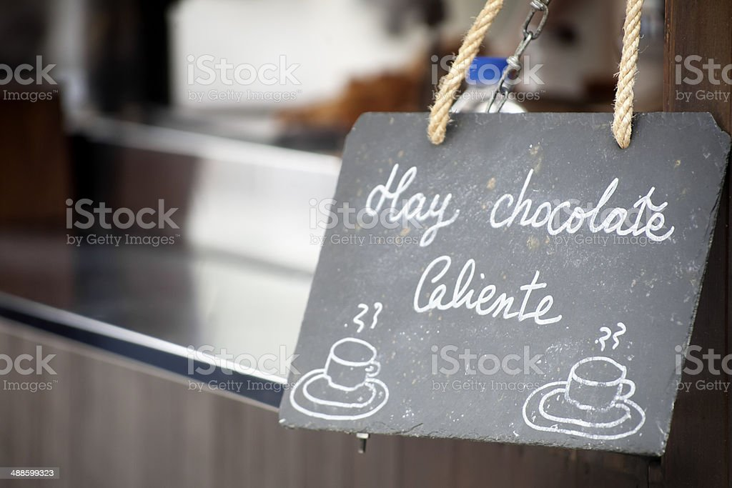 Hot chocolate advertisement royalty-free stock photo