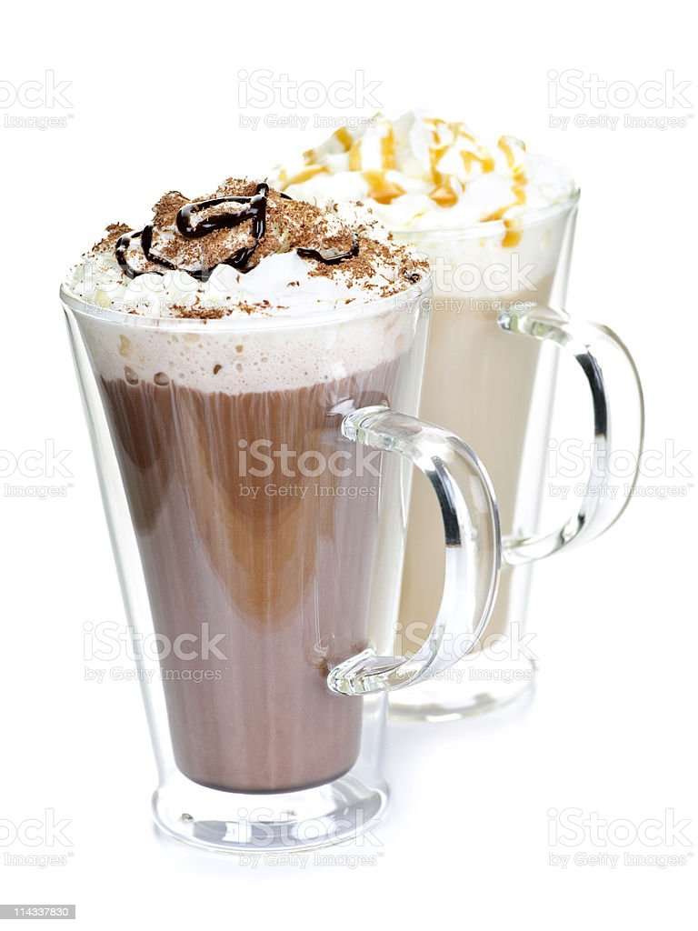 Hot chocolate and a coffee with cream royalty-free stock photo