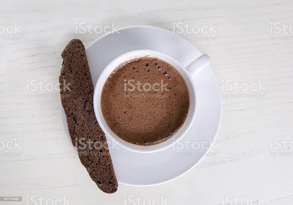 hot chocolate and biscotti royalty-free stock photo